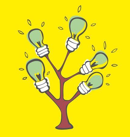 yellow bulb: green light bulbs tree