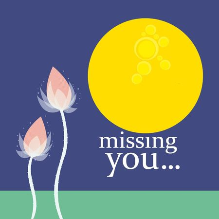 miss you greeting card with  flowers and moonlight