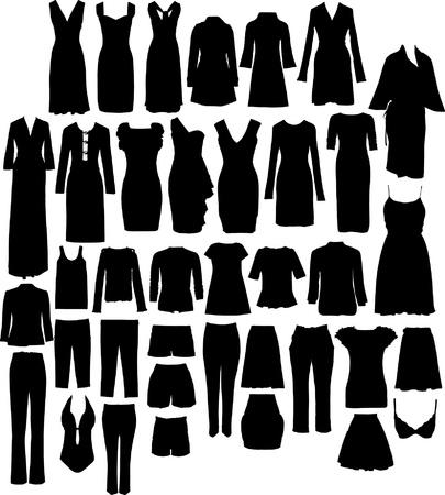 toga: conjunto de siluetas de vestido de damas