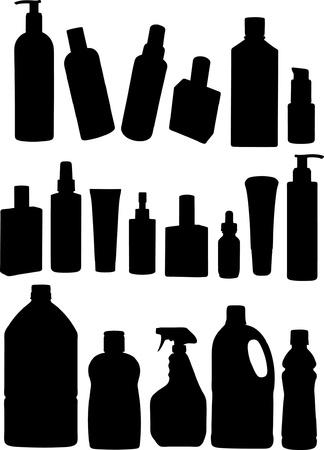 hairspray: conjunto de silueta en blanco de productos Vectores