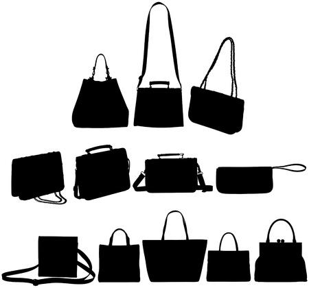 designer bag: conjunto de silueta de bolsos Vectores