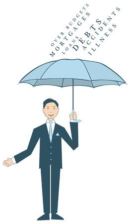 l'homme avec un parapluie