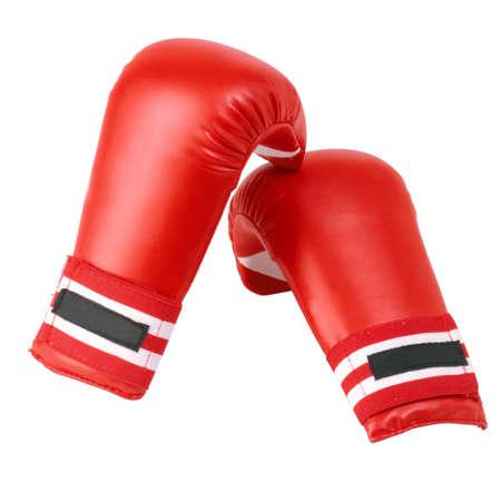 gants de boxe rouges isol� sur fond blanc Banque d'images