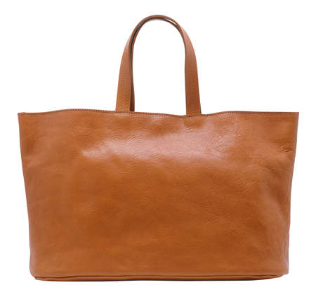 brown leather ladies handbag on white background