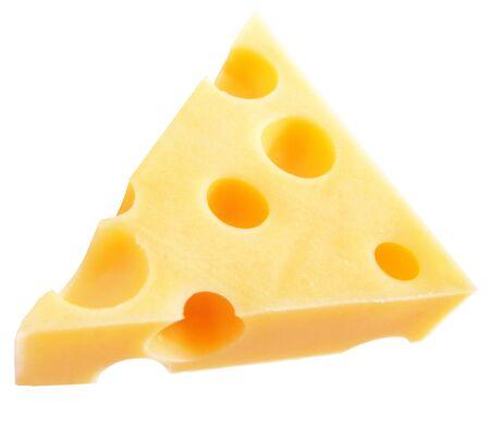 白い背景で隔離のチーズの部分