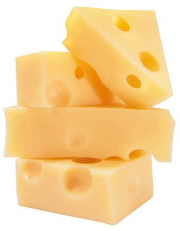 cheese piling on top of each other isolated on white background