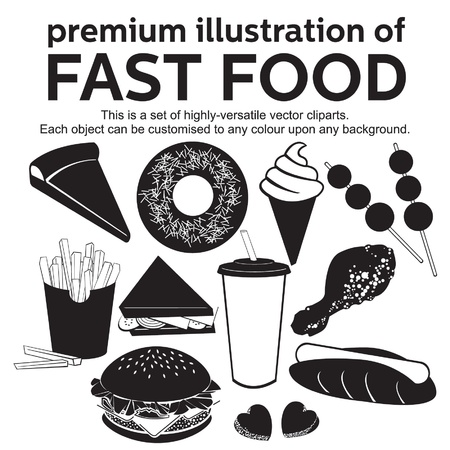 burger with fries: premium illustration of fast food