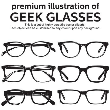 friki: gafas de montura met�lica, geek, estilo vintage clipart Vectores