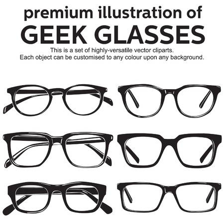 eyewear fashion: metal framed geek glasses vintage style clipart Illustration