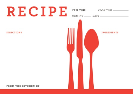 recipe card  kitchen note template Vector