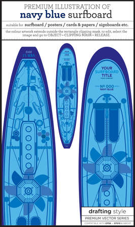 blue surfboard Vector