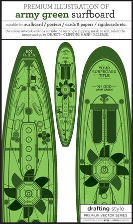 techie: green surfboard