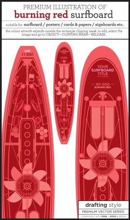 red surfboard Vector