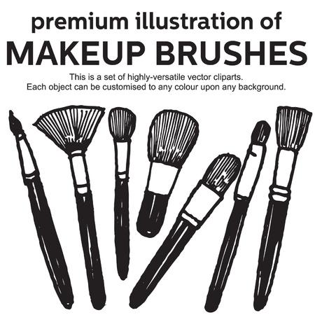 dessin�s � la main pinceaux de maquillage