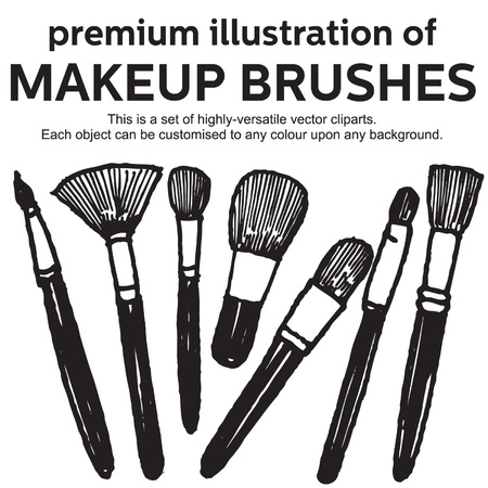 flat brush: hand drawn makeup brushes