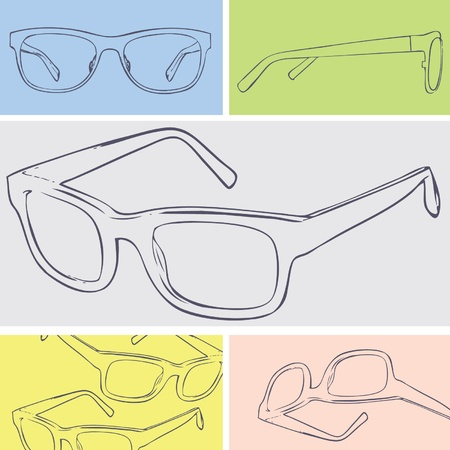 eyewear fashion: glasses suitable for cleaning cloth design  Illustration