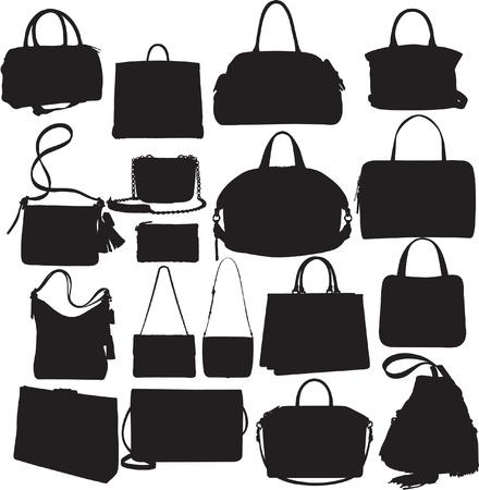 designer bag: Bolsos Silueta Set Vectores