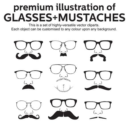 glasses mustache vector set