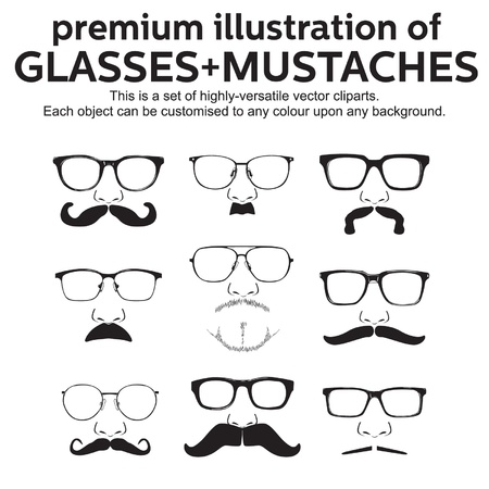 glasses mustache vector set