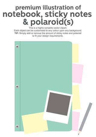 notebook cover: vector notebook cover, polaroids and sticky notes Illustration
