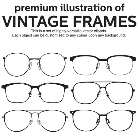 eyewear fashion: thin metal framed geek glasses vintage style Illustration