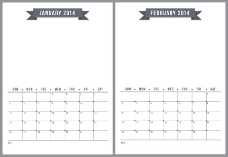 2014 calendar, part 1 of 6  Vector