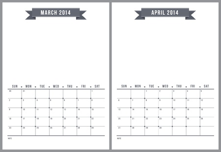 2014 calendar, part 2 of 6 Stock Vector - 22070710