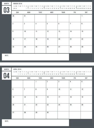 2014 calendar, part 2 of 6  Vector