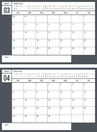 2014 calendar, part 2 of 6 Stock Vector - 22070718