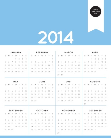 two thousand: 2014 calendar, minimal Illustration