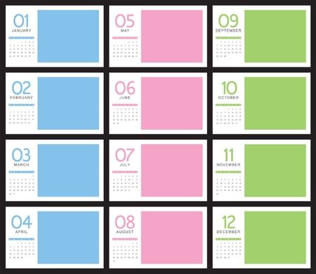 two thousand and fourteen: 2014 Calendar, monthly Illustration