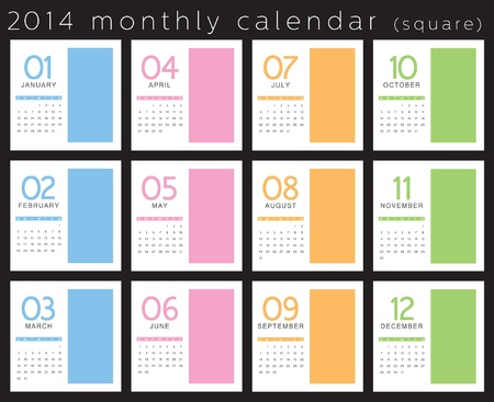 yearly: 2014 calendar vertical  Illustration