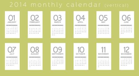 2014 カレンダー、垂直  イラスト・ベクター素材