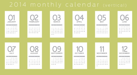 two thousand and fourteen: 2014 calendar, vertical