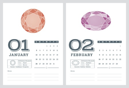 2014 CALENDAR, BIRTHSTONES 2 OF 7