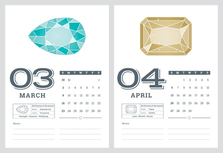 2014 CALENDAR, BIRTHSTONES 3 OF 7