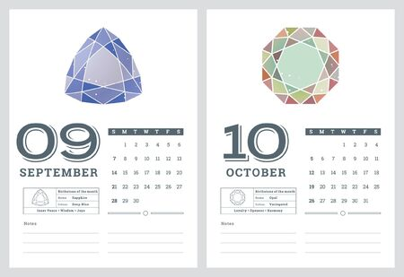 2014 CALENDAR, BIRTHSTONES 6 OF 7 Stock Vector - 22070738
