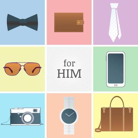 id�es cadeaux ic�nes ou objets de collection Illustration
