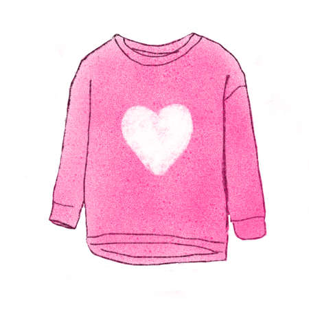 warm clothes: pink sweater illustration