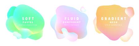 soft pastel bubble set isolated on white background. fluid vector design elements.  template for backdrop, poster and banner layout composition. eps 8