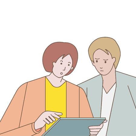illustration of couple looking at their tablet. isolated on white background. vector eps 8