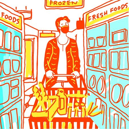 man with face mask doing groceries. grocery shopping illustration.