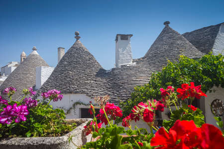 Trulli in Alberobello typical dry stone constructions, Apulia Stock Photo