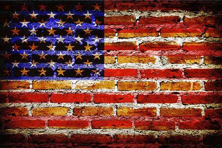Flag U.S.A United States in grunge vintage texture