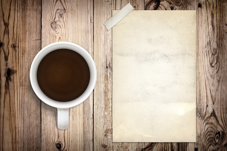 Old poster and coffee Stock Photo - 9972239