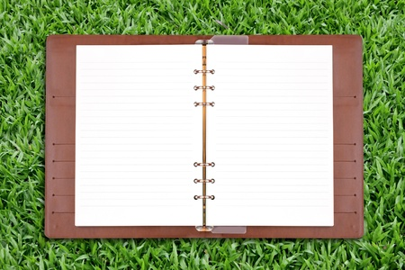 binders: Open diary on green grass background Stock Photo