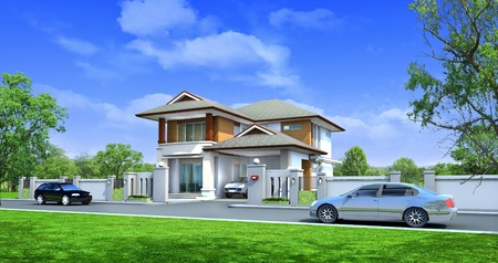 case moderne: rendering 3D, due esclusivi piano casa moderna tropicale sulla natura