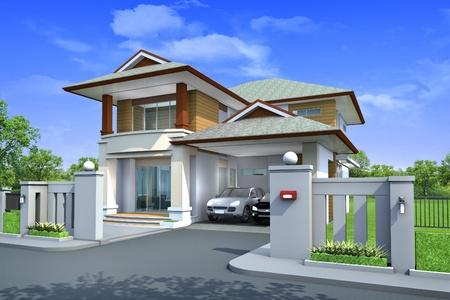 house: 3D-rendering, exclusieve twee verdieping tropische modern huis over de aard