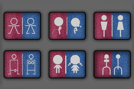 washroom: Toilet symbols for men and women