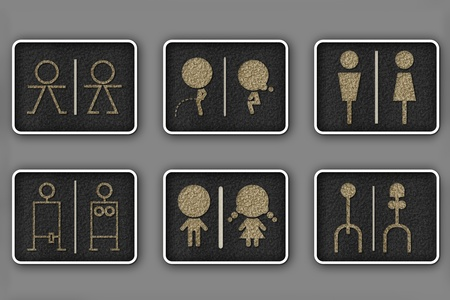 little girl bath: Toilet symbols for men and women